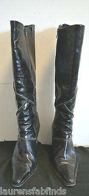 Kenneth Cole Black Knee High Boots Amazing Detail  SIZE 8