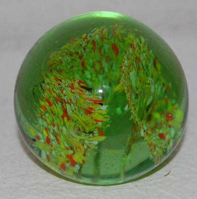 3. LOVELY GREEN FLORAL PAPERWEIGHT / GREEN YELLOW RED WHITE