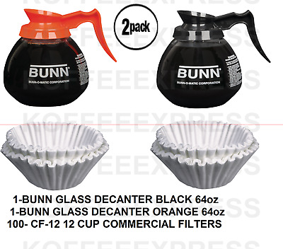 BUNN 2-12 Cup 64oz Commercial 1 REG 1 DECAF COFFEE POTS & 100 FREE CF12 FILTERS