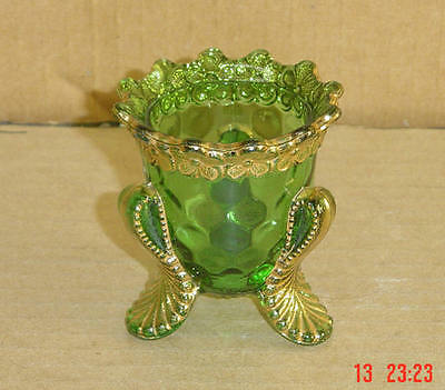 EAPG EMERALD GREEN AND GOLD VERMONT HONEYCOMB TOOTHPICK HOLDER US GLASS 1899