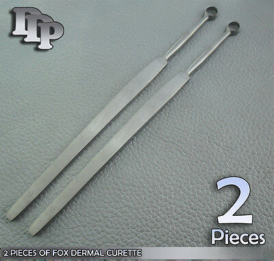 2 Fox Dermal Curette 2mm+4mm Surgical Dermatology Instruments