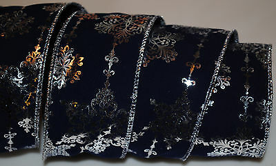 Wired Ribbon~Dark Blue Velvet~Silver Snowflake~Christmas~Holiday~Wreath~Gift~Bow