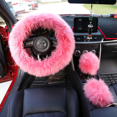 Three-piece Set Pink Car Soft Plush Steering Wheel Cover Gear Handbrake Cover