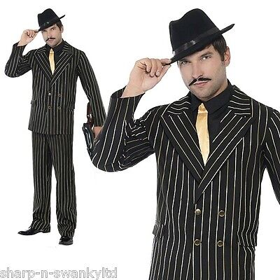Gold pinstripe gangster suit mens fancy dress 1920s adults costume 20s