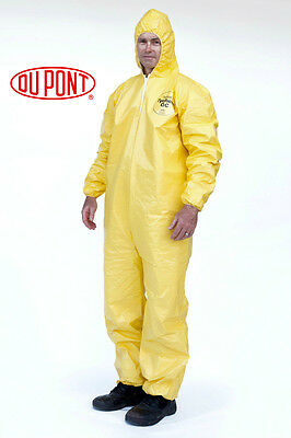 DUPONT Tychem Tyvek QC127S Yellow Coverall Chemical Hazmat Suit QC127 Medium M