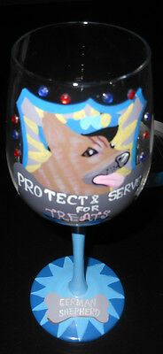 German Shepherd Wine Glass By: Little Gifts Hand  Painted Blue Protect and Serve