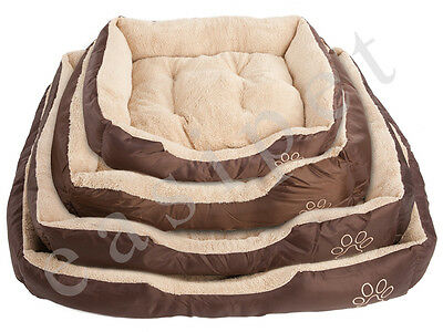 Dog Bed Pet Cat Brown Tan Puppy Faux Fur Soft Fleece Deluxe New 4 sizes Cushion