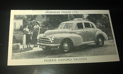 1953 MORRIS OXFORD MO  Saloon Orig Cereal Trading Card