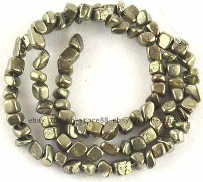 Natural 3-5mm Small Smooth Freeform Pyrite Beads 15''