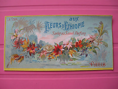 1 Ancienne Etiquette De Savon Fleurs D'ethiopie/antique Soap Label French Paris