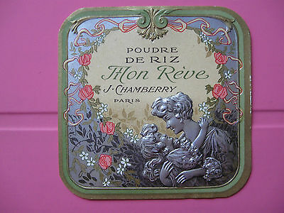 1 Ancienne Etiquette De Poudre De Riz/antique Face Powder Label French Paris
