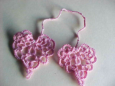 Tatted Bookmark Heart to Heart New Pink White Cord Lacey Dove Country Tatting