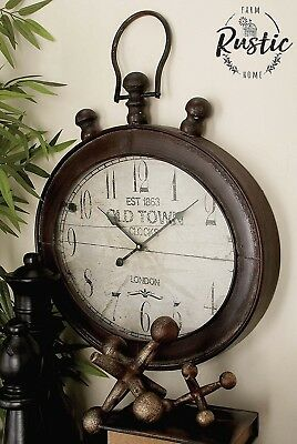 Large Metal Oval Wall Clock RUSTIC DECOR New York Industrial Vintage Antique