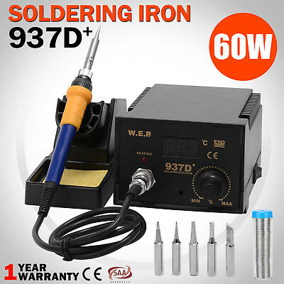 Electric Display 60W Soldering Iron Welding Kit ESD Safe Station 6 Tip Lead Free