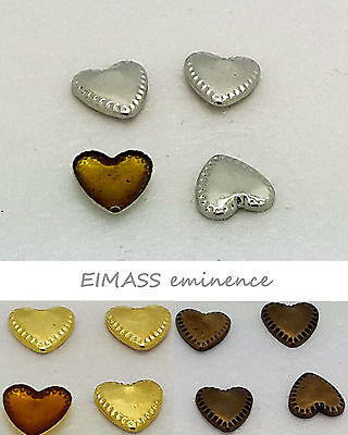 100 x Dotted Heart Hot Fix / Glue on EIMASS® Copper Studs for Bags Shoes Phones