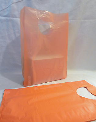 "100 Bags 7 x 3 x 12"" Orange Plastic Merchandise Bags with Handles New"