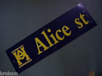 "Vintage ARTHUR HILL / ALICE ST STREET SIGN 30"" X 9"" GOLD LETTERING ON BLUE"