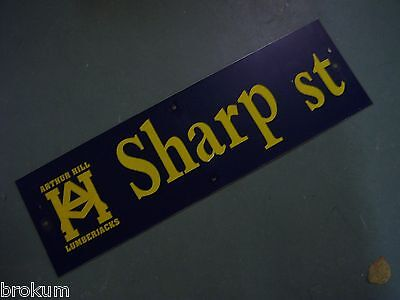 "Vintage ARTHUR HILL / SHARP ST STREET SIGN 30"" X 9"" GOLD LETTERING ON BLUE"