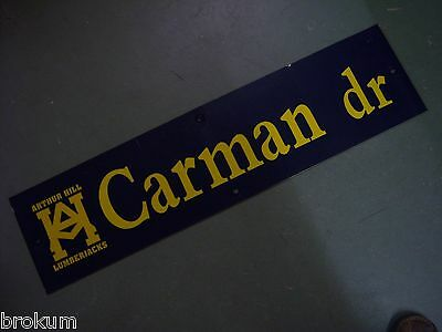 "Vintage ARTHUR HILL / CARMAN DR STREET SIGN 36"" X 9"" GOLD LETTERING ON BLUE"