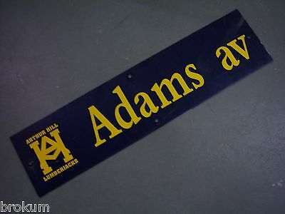 "Vintage ARTHUR HILL / ADAMS AV STREET SIGN 36"" X 9"" GOLD LETTERING ON BLUE"