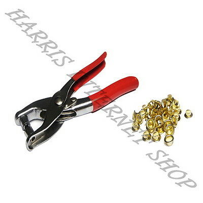 New Eyelet Fabric Plier Punch Tool Kit Leather Belt Hole Maker + 100 Free Eyelet