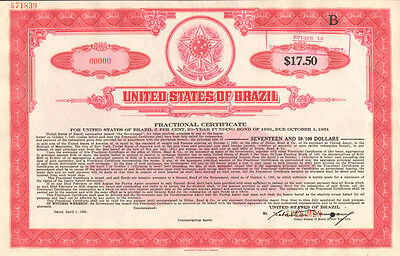 United States of Brazil >> Estados Unidos do Brazil > specimen stock certificate