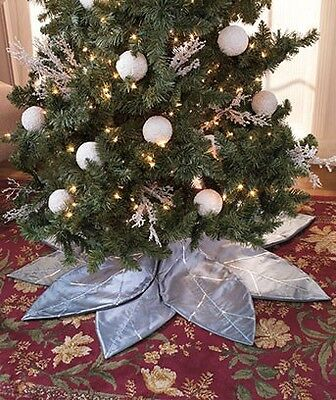 "49"" Poinsettia PETALS ChristmasTree Skirt (Silver) POLYESTER"