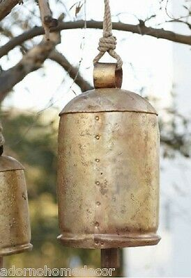 LARGE Rustic Iron Bells Wood Clapper & Rope Hanger Yard Tree Decor Vintage Chime