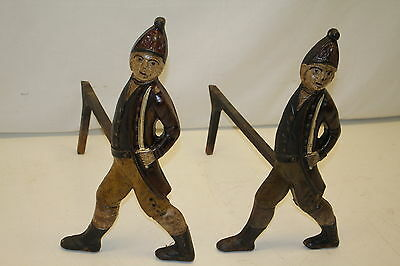 Cast Iron American Revolution Hessian Soldiers Andirons