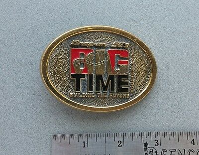 Vintage Snap-On Tools Brass Belt Buckle 90's Big Time Building the Future