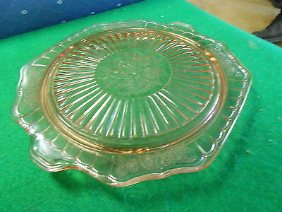 Beautiful Vintage PINK Depression Glass MAYFAIR Cake Plate-Footed