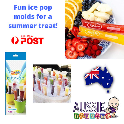 New Zipzicle Icy Pole Maker Pops Popsicle Mould Ice Poles 36 Pack BPA Free Kids