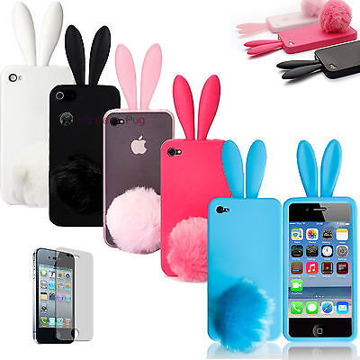 Cute Soft Bunny Rabbit & Tail Case Skin Cover for iPhone 4 4G + Screen Protector