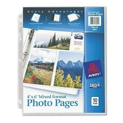 """Avery Photo Pages for Six 4""""x6"""" Mixed Format Photos 3 Hole Punched 10 Pack 13401"""