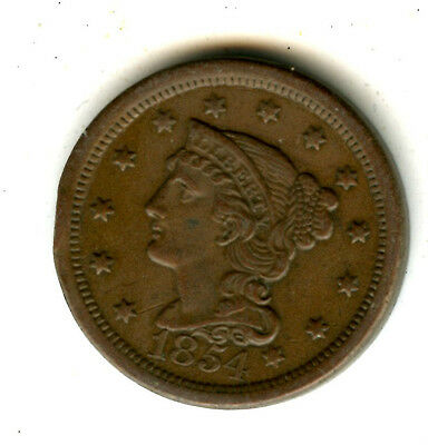 1854 LARGE CENT CHOICE AU DETAIL GREAT COLOR