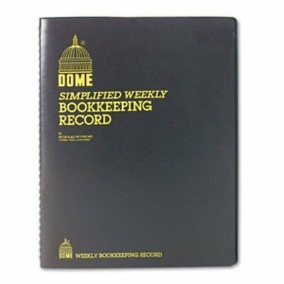 Dome Simple Weekly Book, Bookkeeping Record Book 128 Pages, 9 x11, Brown, DOM600
