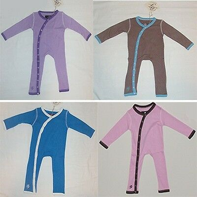 Bebe Fiore Bamboo Cotton Infant Jumper w Trim Full Button Closure Long Sleeve