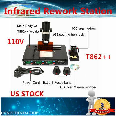 BGA Rework Station IRDA Welder Infrared SMD Soldering Welding Machine T862++ US