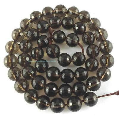 8mm Smoky Quartz Round (128)Faceted Loose Beads 15''