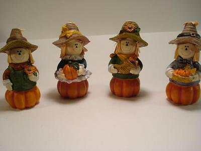4 Harvest Scarecrow Figurines Tabletop Fall Autumn Thanksgiving Decor Country