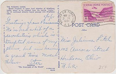 (RM9)1951PanamaCanal postcardPostedfrom Howard airForce