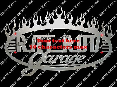 Custom Garage Flames sign with Your Text Speed Shop Mancave Christmas Gift Idea
