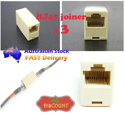 3 RJ45 Network Cable Connector LAN Ethernet Cat5 Adapter Couplers Extender Plug