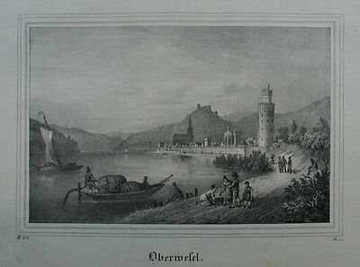 "Oberwesel Lithographie aus ""Borussia"" Dresden 1839"