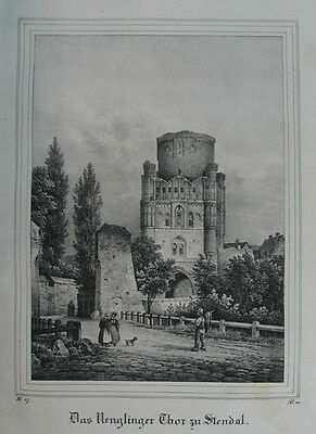 "Stendal Uenglinger Thor Lithographie aus ""Borussia"" Dresden 1839"