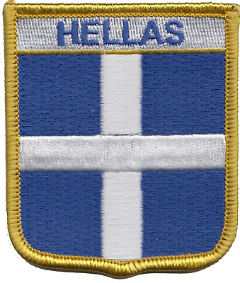 Greece Hellas Cross Flag Shield Embroidered Patch Badge *