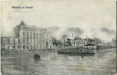 1910 Messina in fiamme attacco SOMMERGIBILE ?  PORTO FP B/N VG ANIM