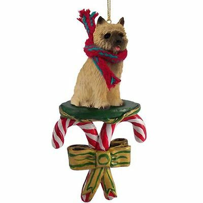 CAIRN TERRIER Red Dog Candy Cane Christmas Tree ORNAMENT