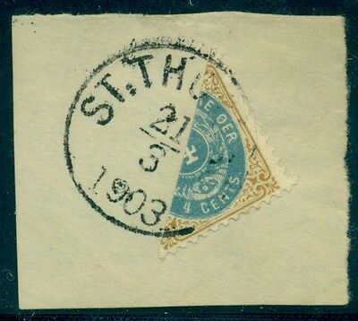 DANISH WEST INDIES #18a 4¢ bicolor, BISECTED on piece w/St. Thomas cancel
