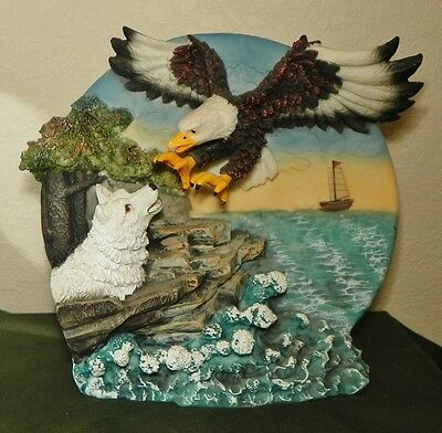 Eagle Wolf Collector 3-D Art Wild Life Plate